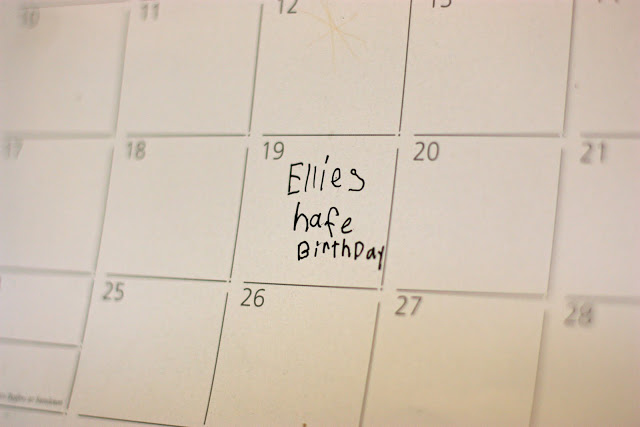 "Ellie's ""hafe"" birthday"