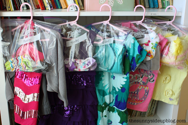 Organized outfits for school