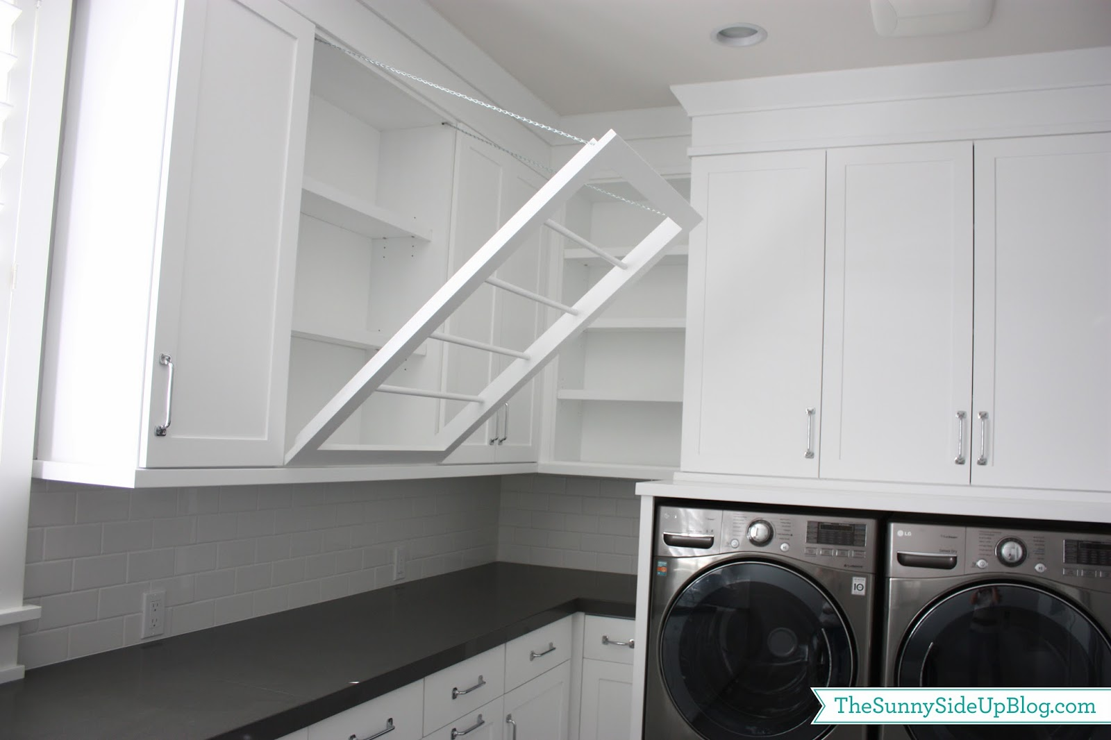 Laundry Drying Rack Cabinet ~ Downstairs laundry room the sunny side up