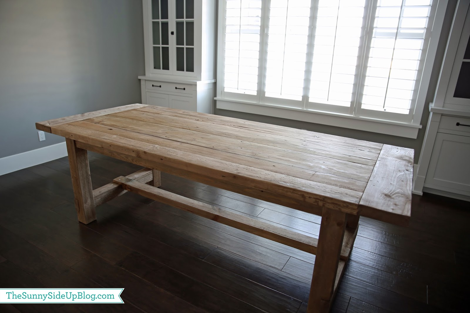 Farmhouse table restoration hardware - These Pictures Show Its True Color It S Light But Has Subtle Grey Undertones So I Think It Works Well In This Space The Wide Planks Are My Favorite