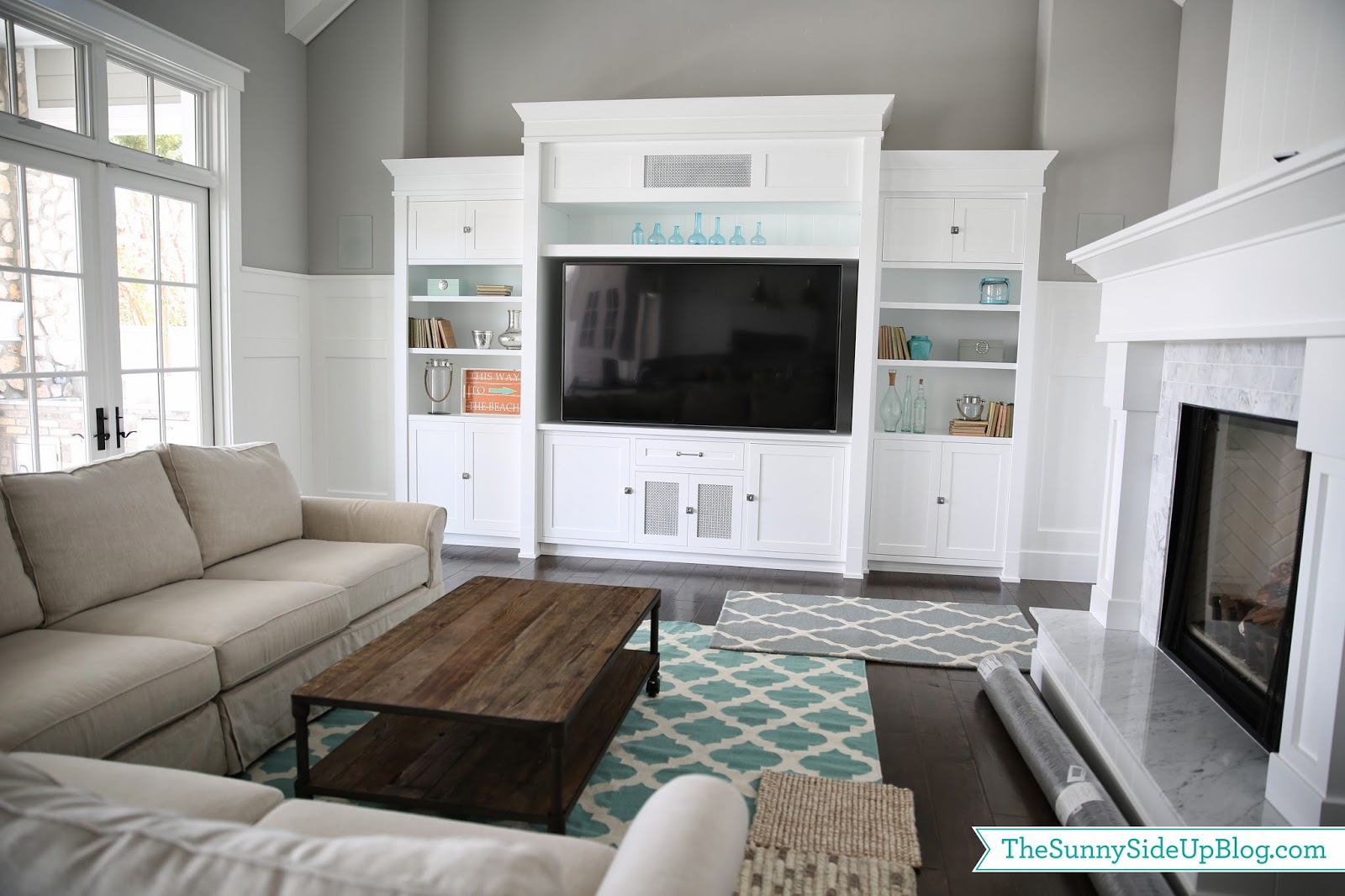 Living Room Pottery Barn Family Rooms family room decor update the sunny side up blog because blue patterns werent working for me i went to restoration and pottery barn pulled some neutral that might work