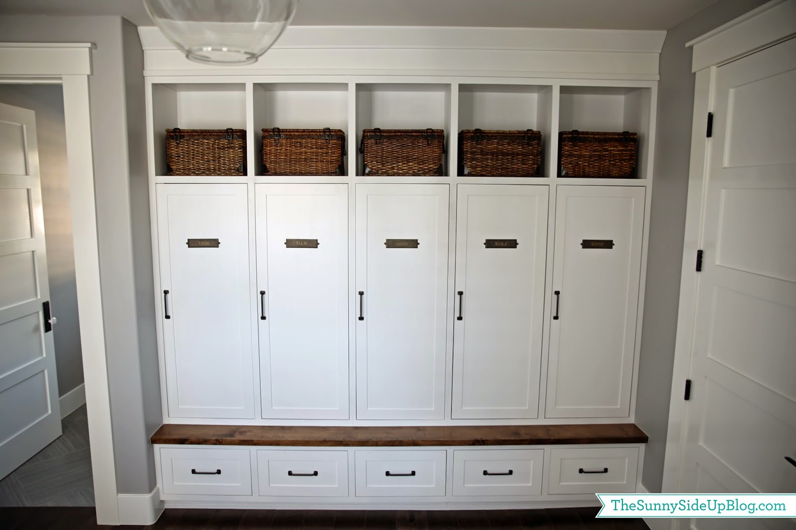 Mudroom lockers with doors - My New Organized Mudroom