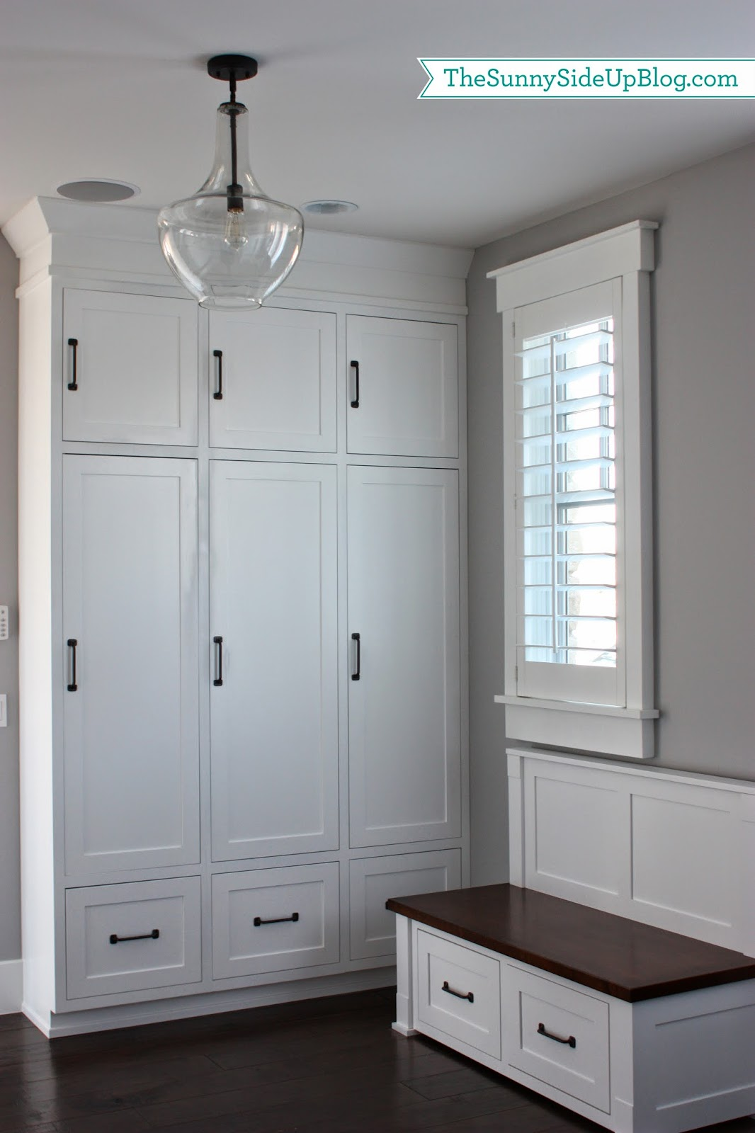 Mudroom Storage Cabinets : My new organized mudroom the sunny side up