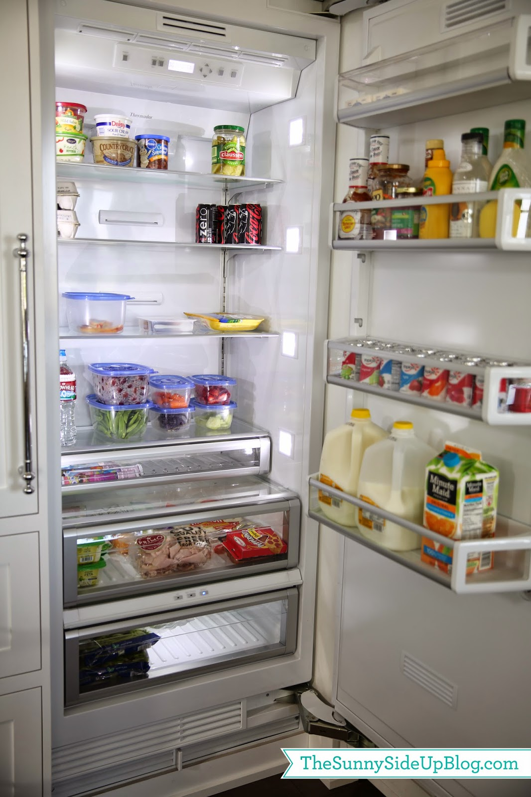 Organized kitchen drawers and fridge - The Sunny Side Up Blog Organized Refrigerator Healthy