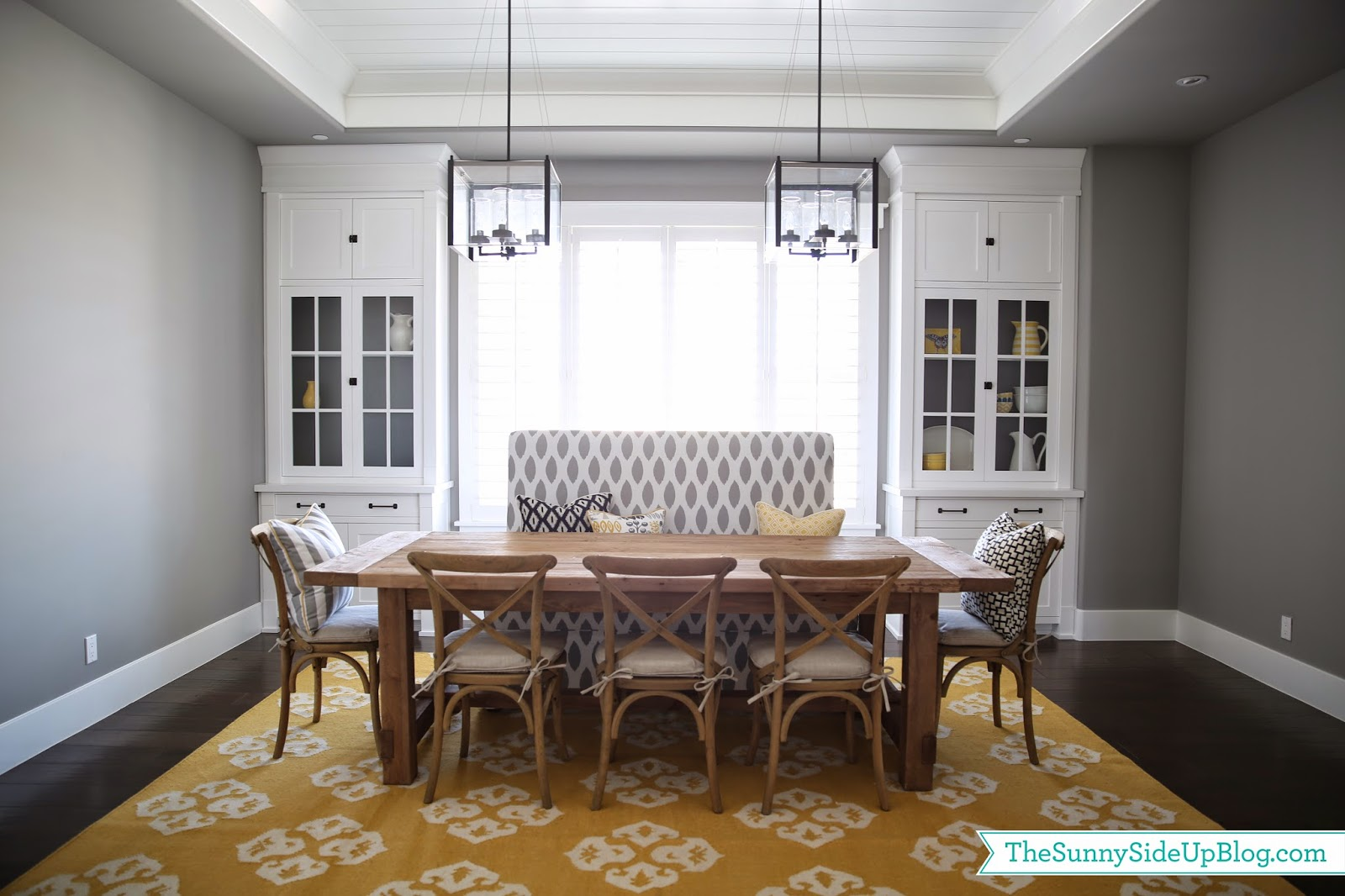 Dining room decor update (bench chairs pillows) & Dining room decor update (bench chairs pillows) - The Sunny Side ...