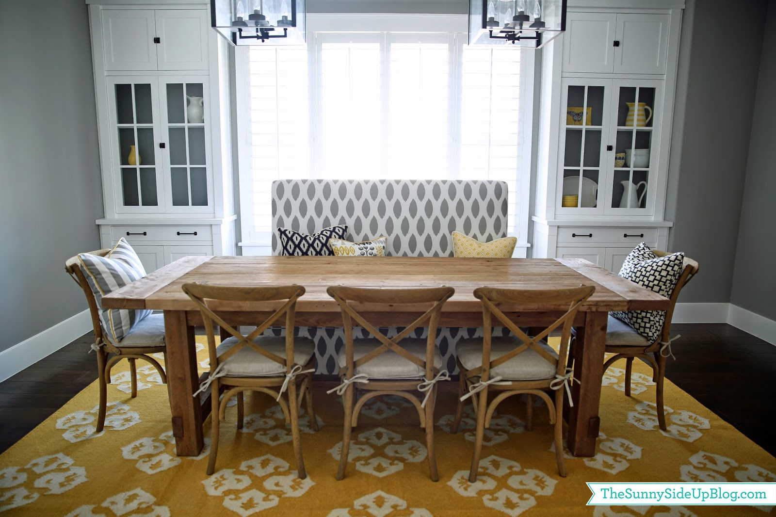 Lovely Dining room decor update (bench, chairs, pillows) - The Sunny Side  PO63