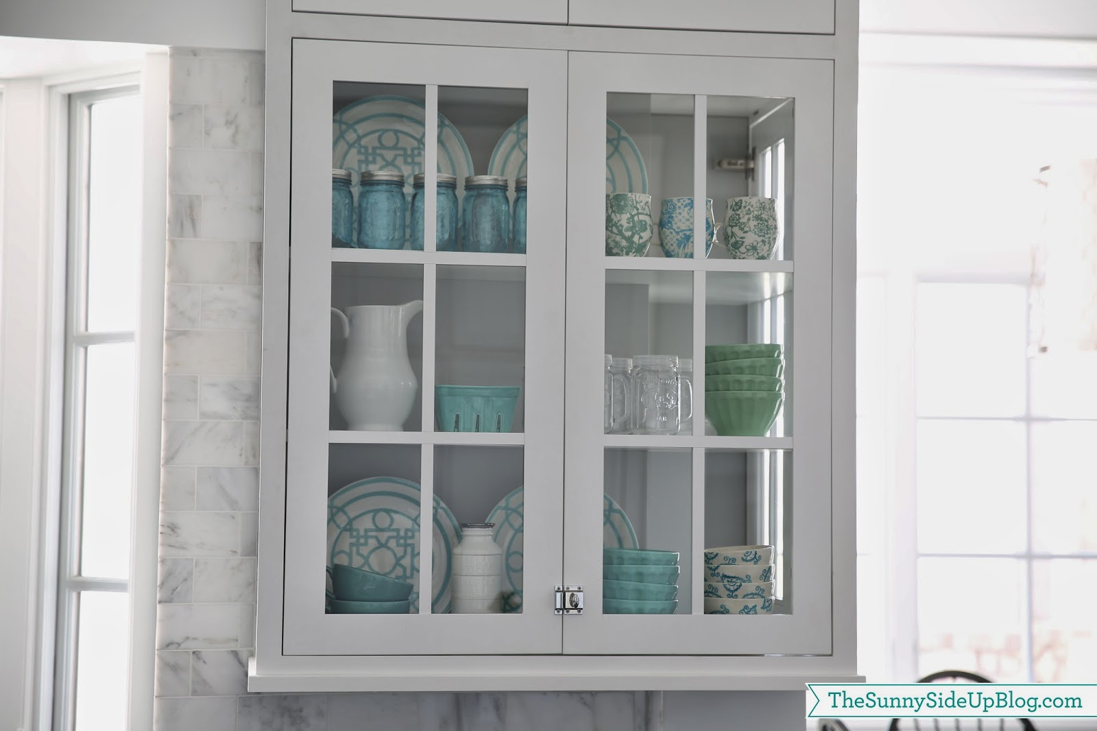Sharing My Glass Kitchen Cabinet Shelf Decor Today I Ve Been Sticking
