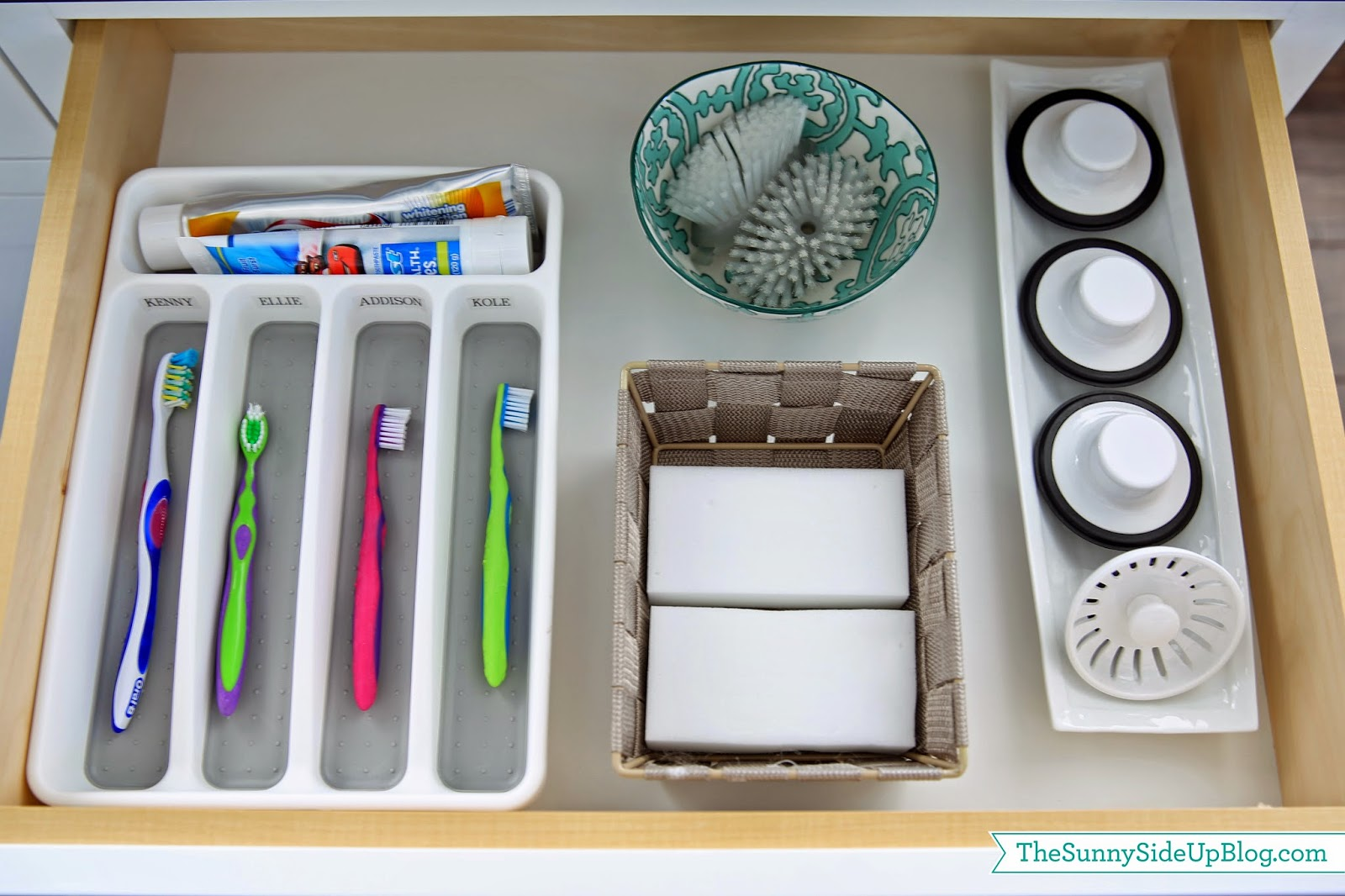 Organized kitchen sink drawer the sunny side up blog - Keep toothpaste kitchen ...