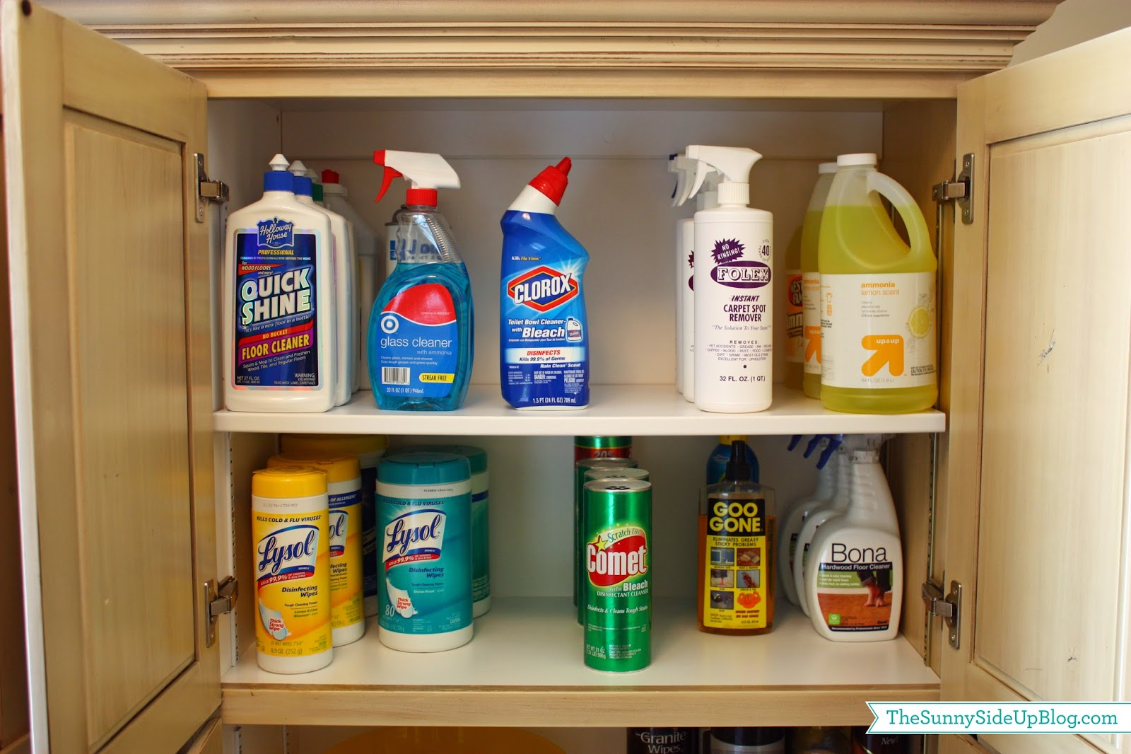 Kitchen cabinet cleaning products organized laundry room for Best product to clean wood kitchen cabinets