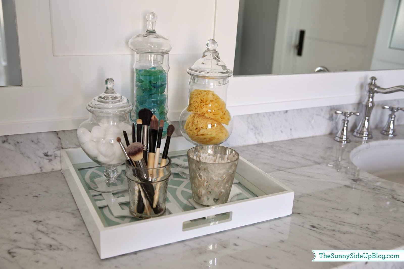 Master bathroom decor the sunny side up blog for Bathroom decoration items