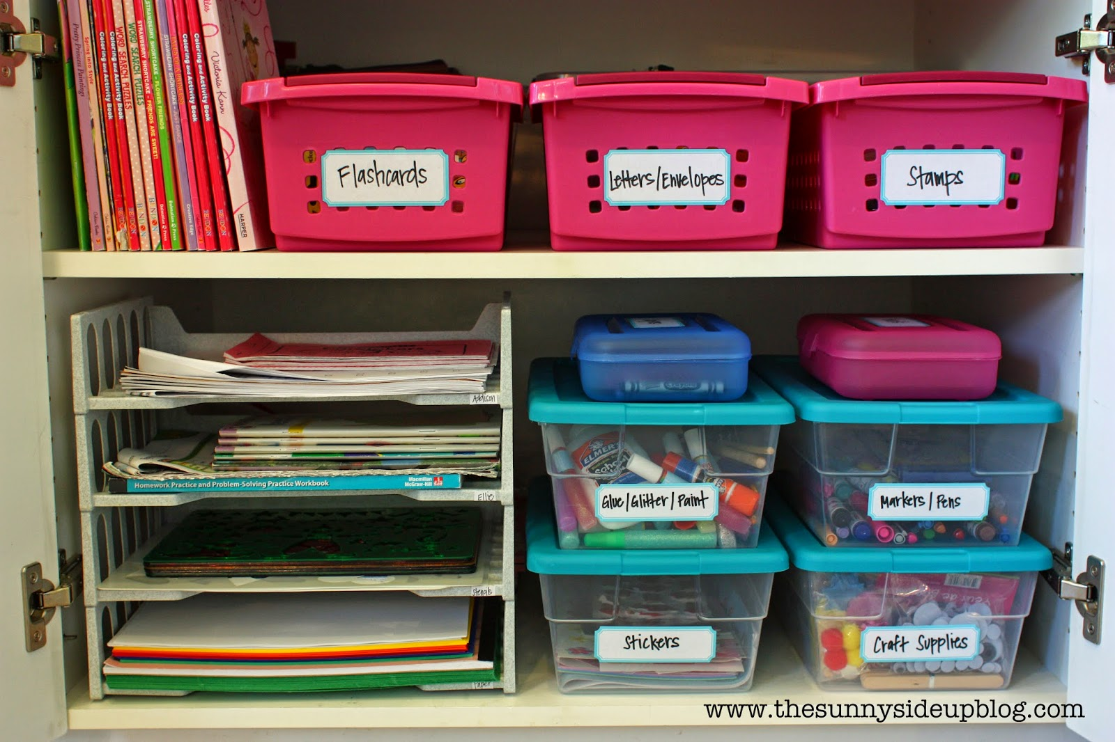 Organized craft school supplies the sunny side up blog - How to organize your desk at home for school ...