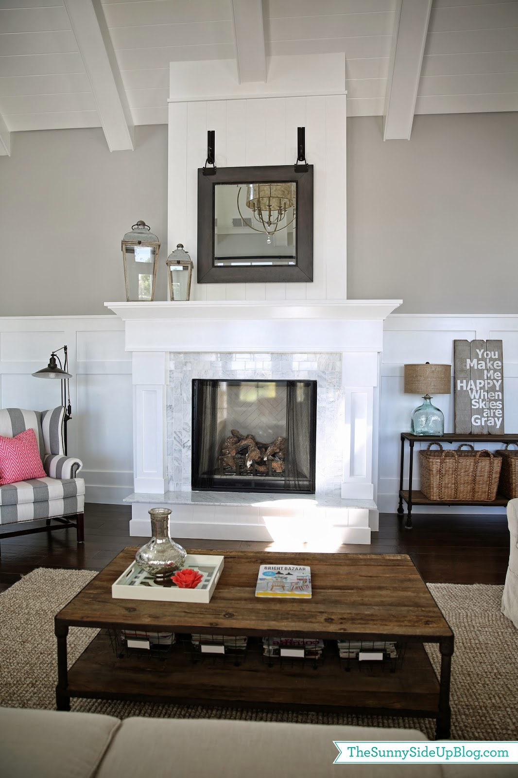 family room update pops of coral the sunny side up blog