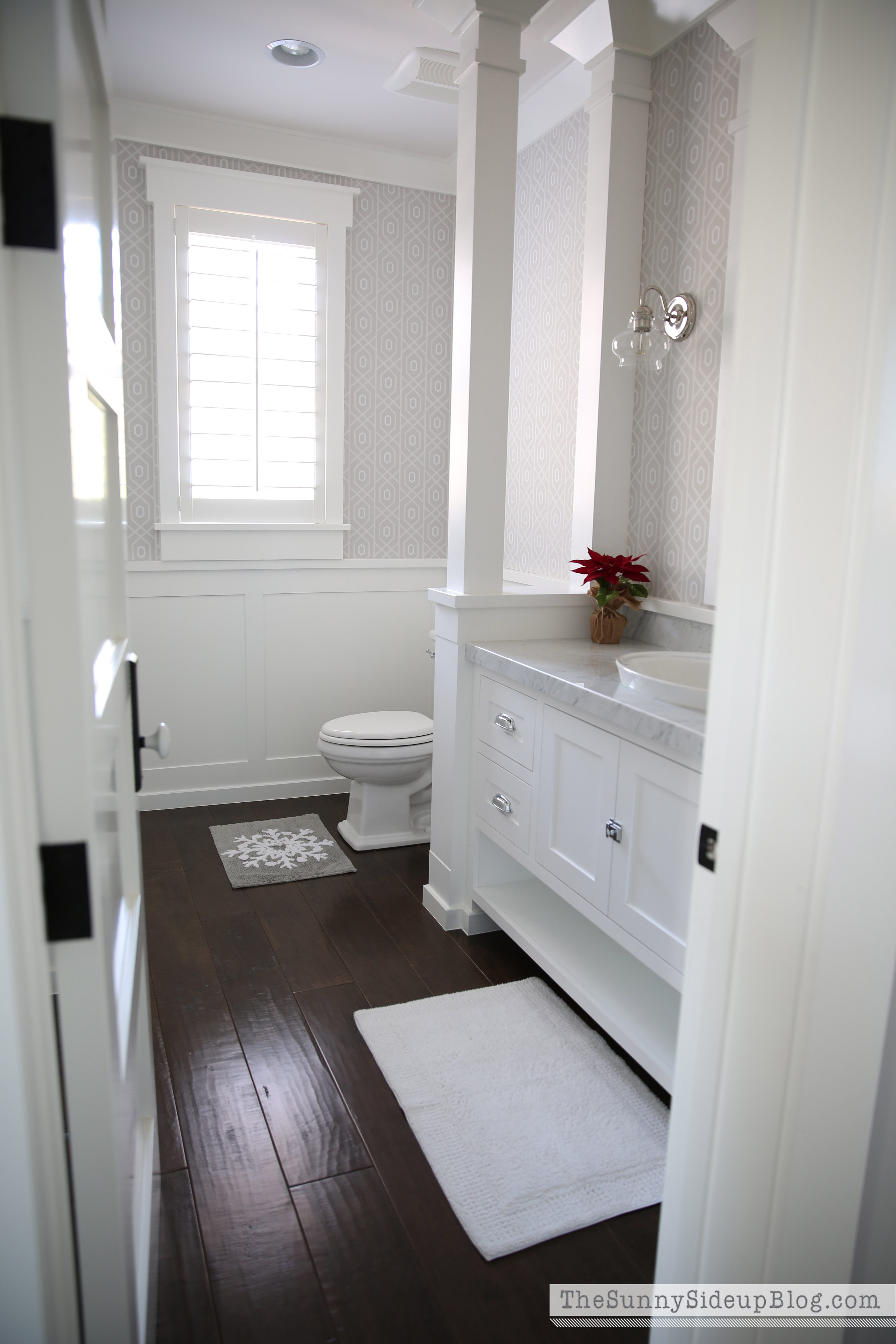 Christmas in the powder bathroom the sunny side up blog Bathroom ideas wooden floor