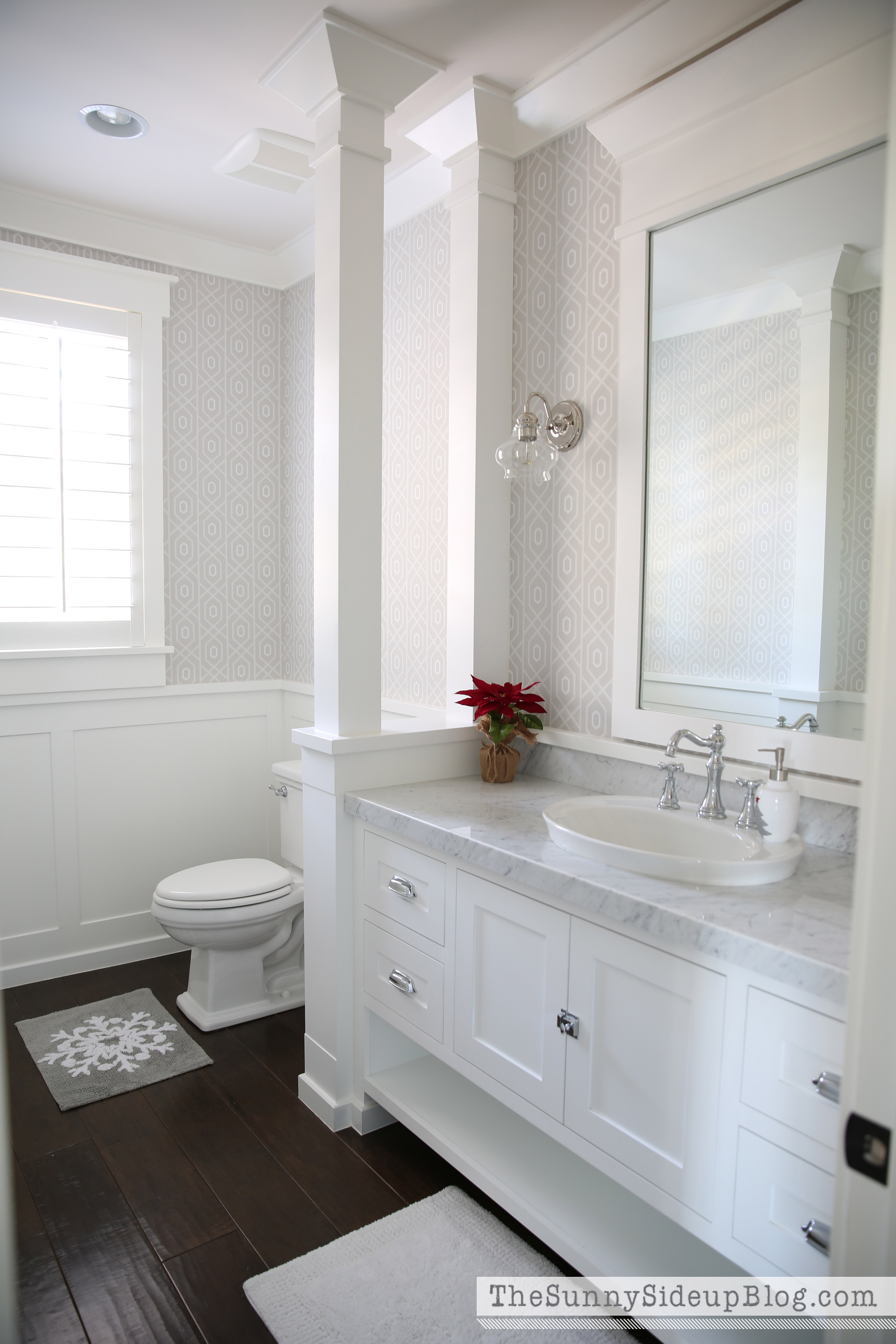 small bathroom wallpaper ideas christmas in the powder bathroom the sunny side up blog 4275