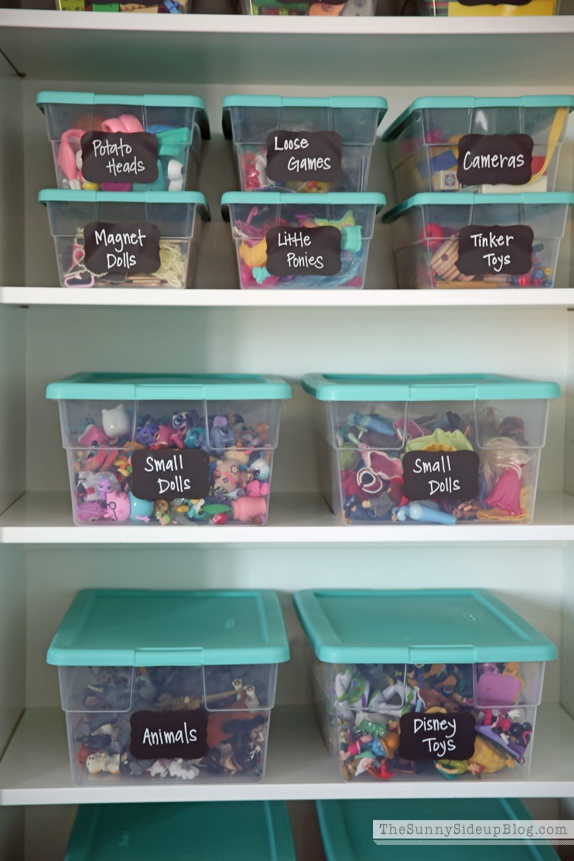 labeled toy bins