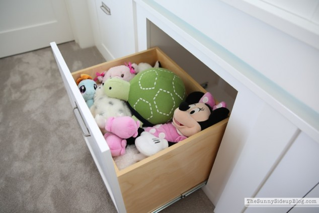 organized playroom drawers