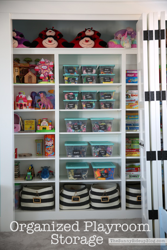 organized playroom storage