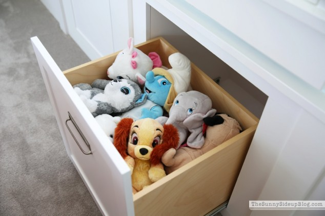 organized stuffed animals