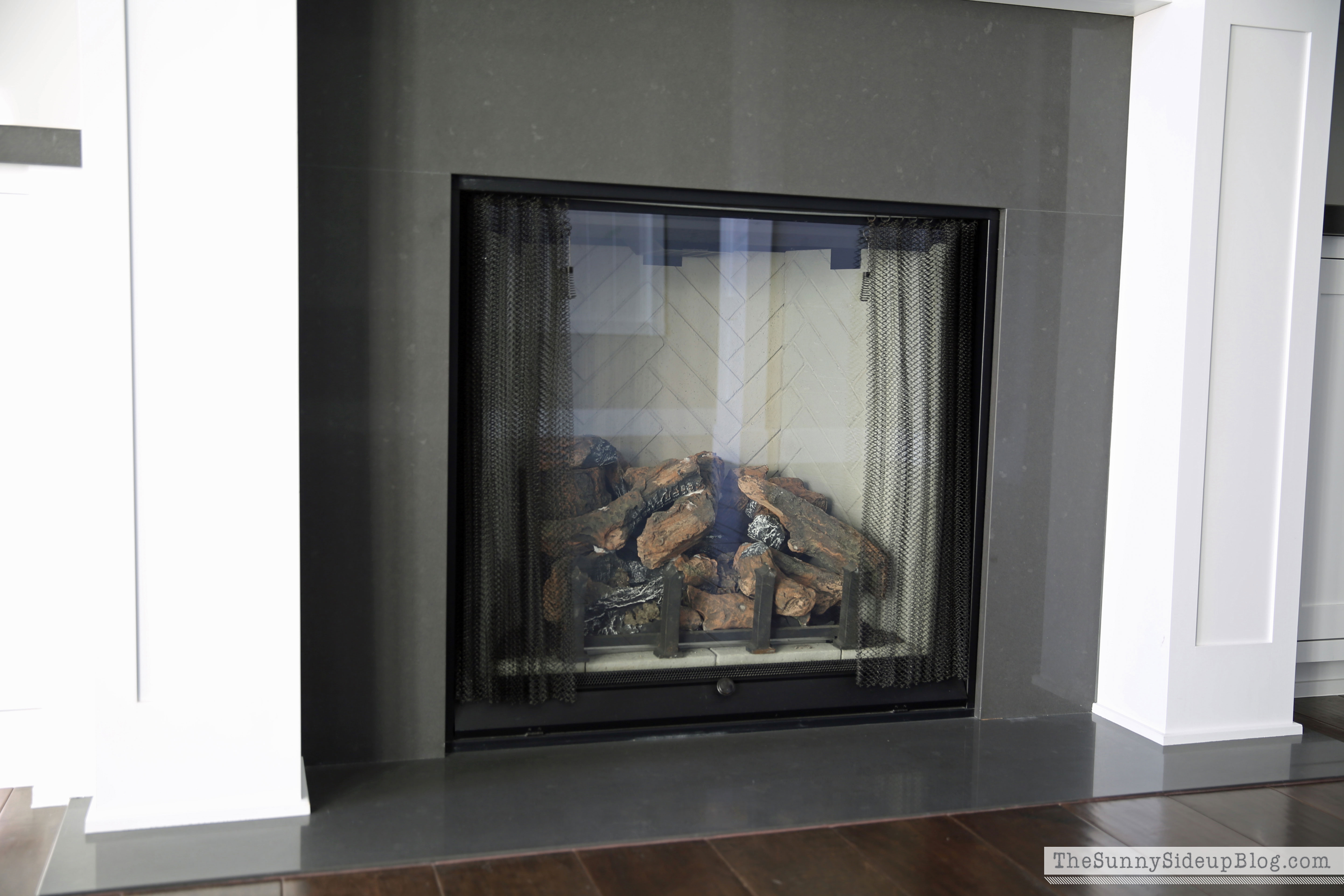 Quartz Fireplace Surround : Our formal living room blank slate the sunny side up