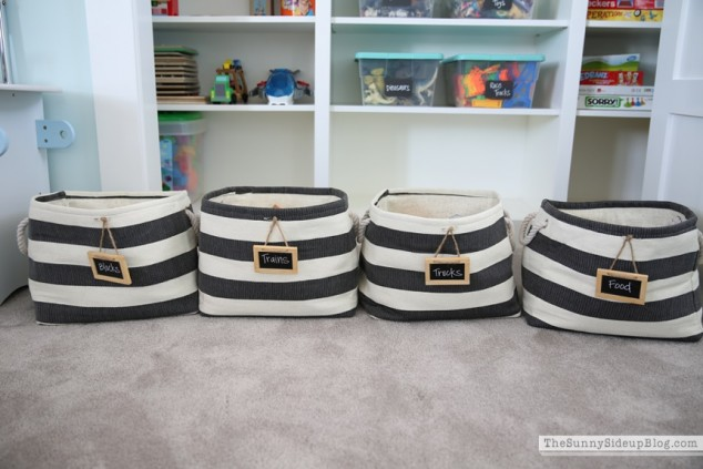 striped bins container store