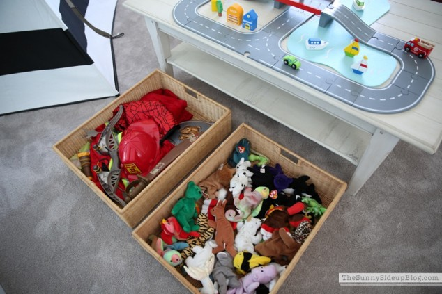 toys in bins