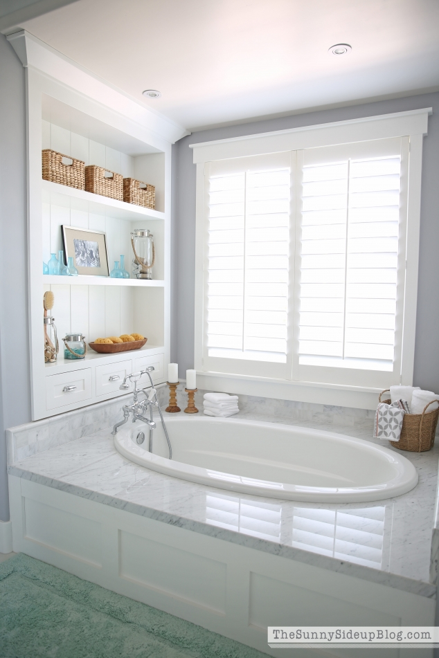 Master bathroom shelves tub the sunny side up blog for Custom tubs and showers