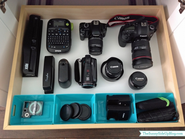 organize camera equipment
