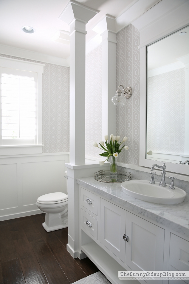 white bathroom design ideas spring in the powder bathroom the sunny side up blog 6192