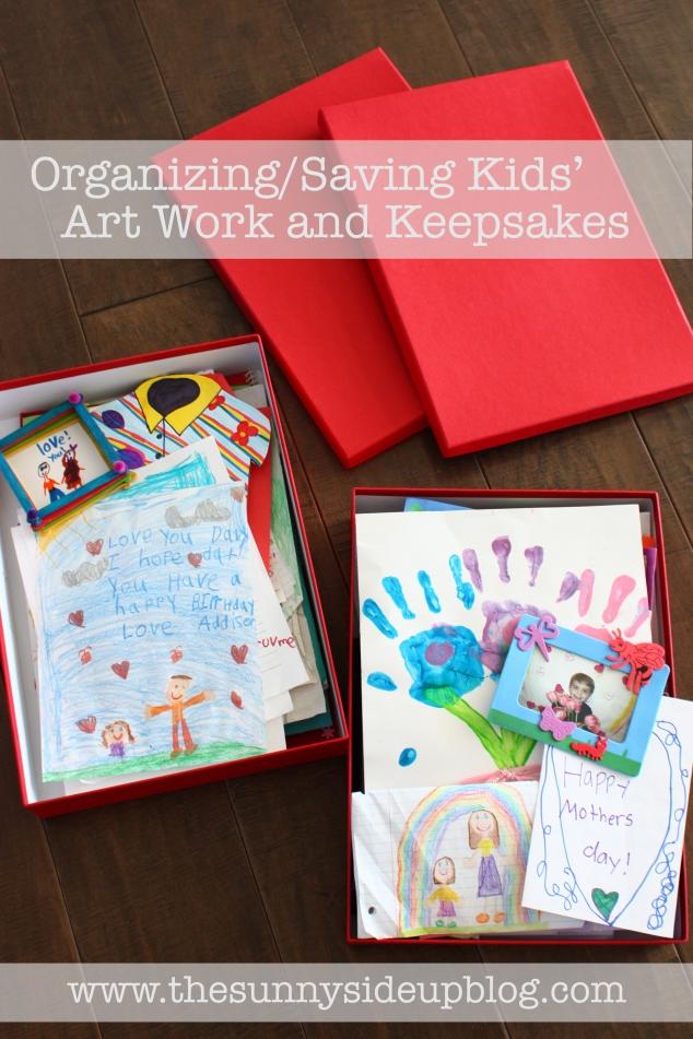 organize and save kids artwork and keepsakes