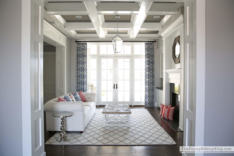 Formal living room progress the sunny side up blog for Box beam ceiling