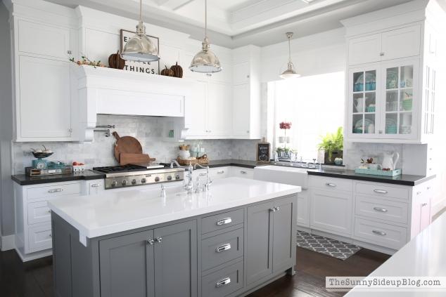 Fancy grey kitchen island
