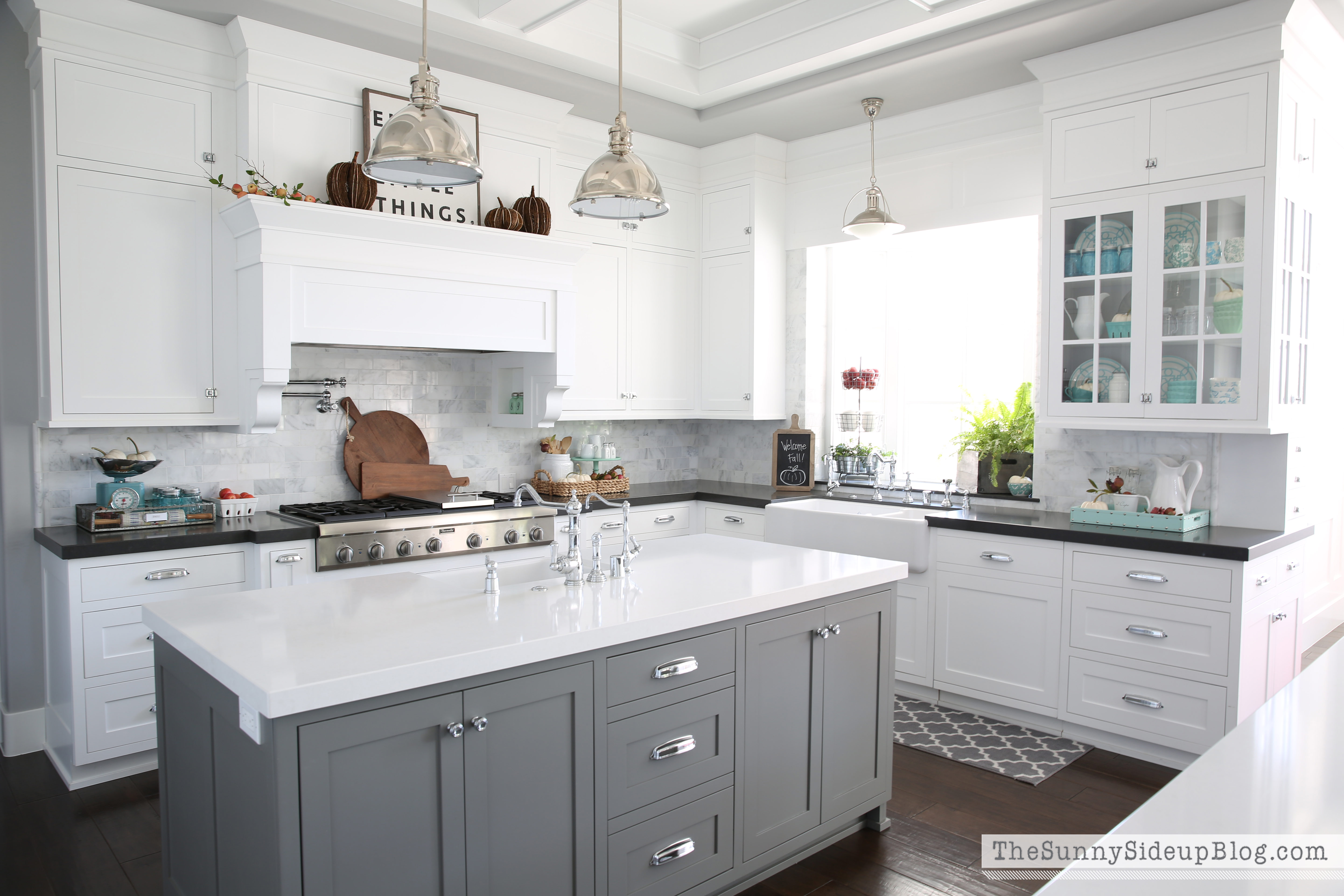 grey kitchen island fall into home tour the sunny side up blog 1546