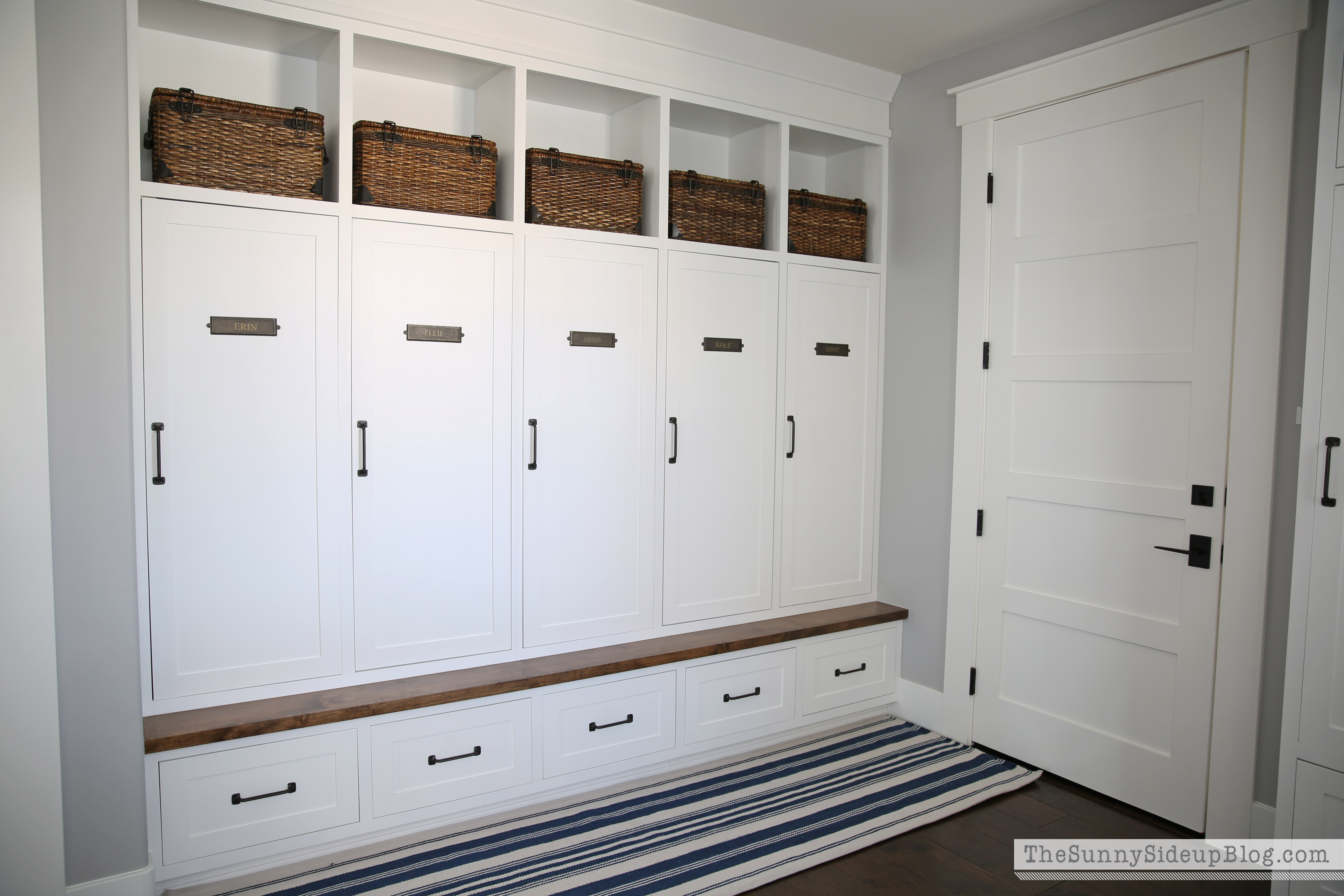 Home tour the sunny side up blog for Open lockers for mudroom