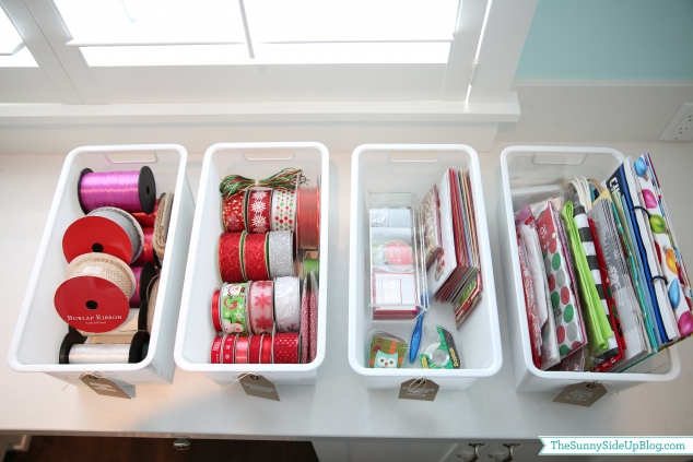 organized ribbon and tags