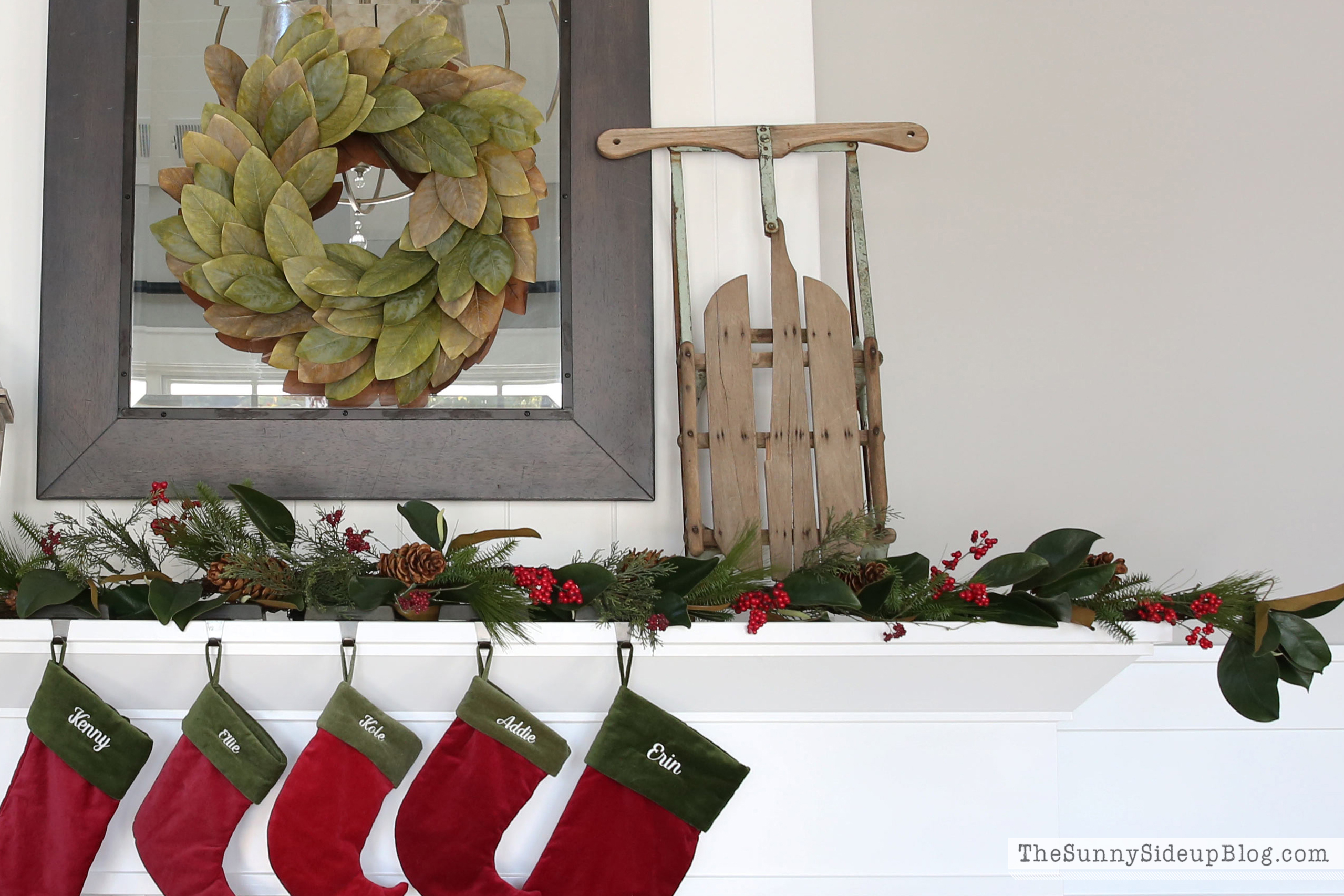 mom's-sled-on-fireplace