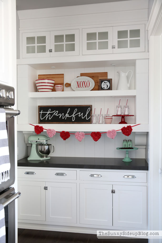 Valentine's decor (and clean drawers!) in the butler's pantry