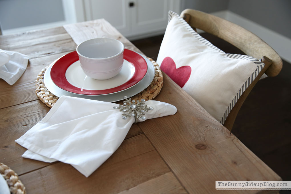 Valentine's tablescape (and organized built-ins!)
