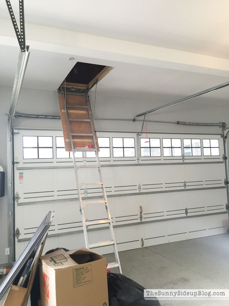 We Had Our Carpenter Cut Out A Small Opening And Add An Attached Pull Down Ladder Instant Extra Garage Storage Baby