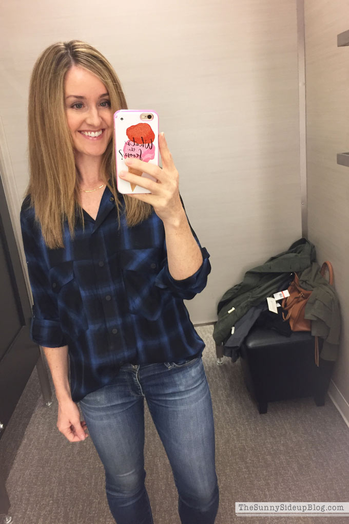 blue-and-black-plaid-shirt