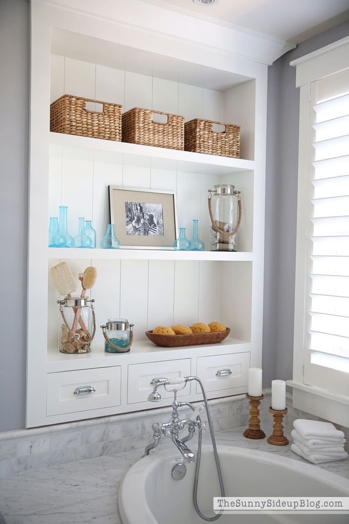 Book of farmhouse bathroom shelves in us by emma for Bathroom storage decor