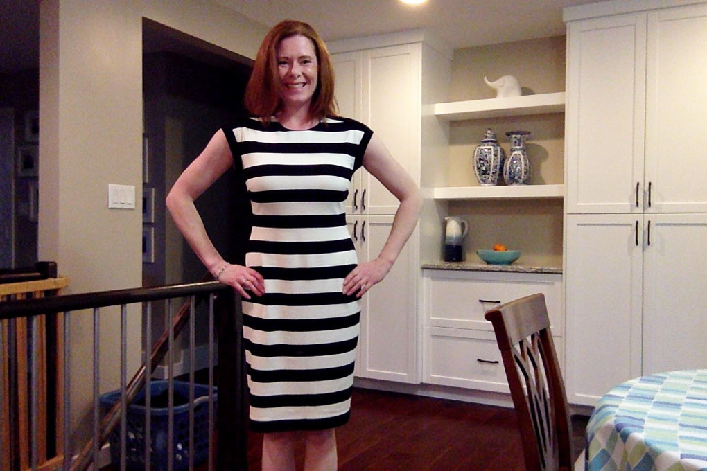 black-and-white-striped-dress