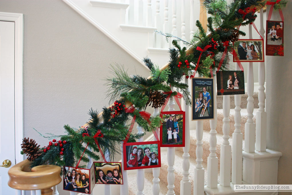 christmas card stair garland sunny side up9 - Decorating Banisters For Christmas With Ribbon