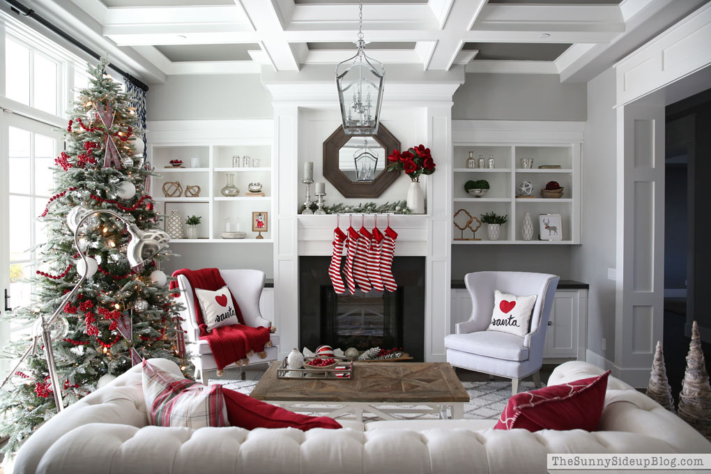 Christmas decorations in formal living room modern home for Cheryl draa interior designs