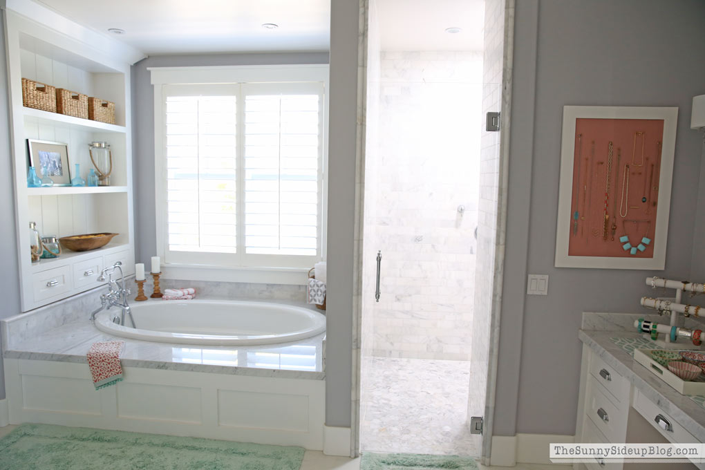 White Master Bathroom Ready For Spring The Sunny Side