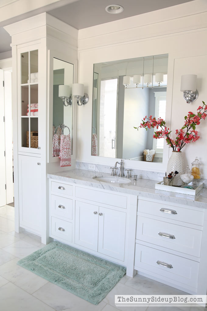 White master bathroom ready for spring the sunny side for Spring bathroom decor