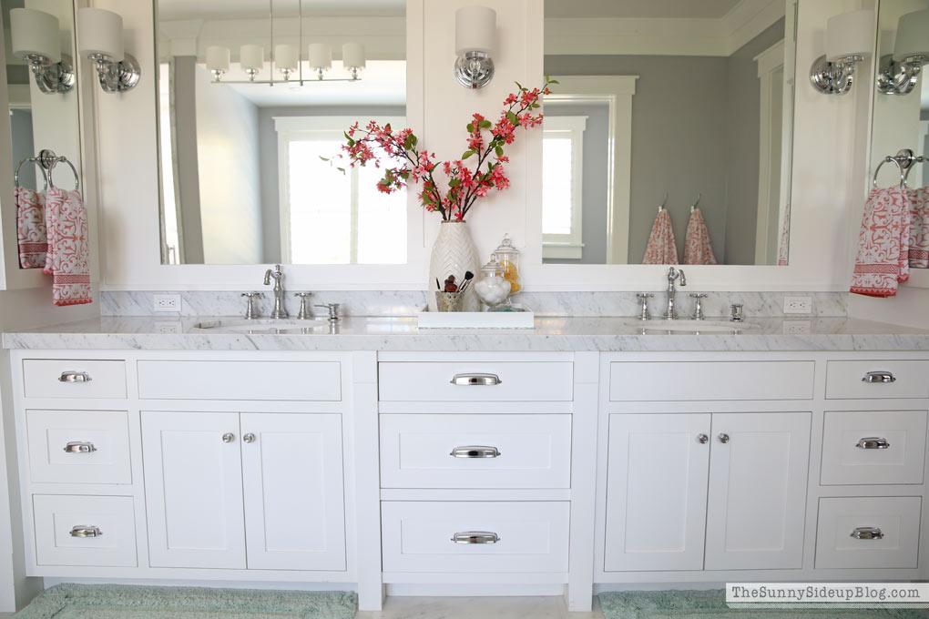 White master bathroom ready for spring the sunny side for Spring bathroom decor