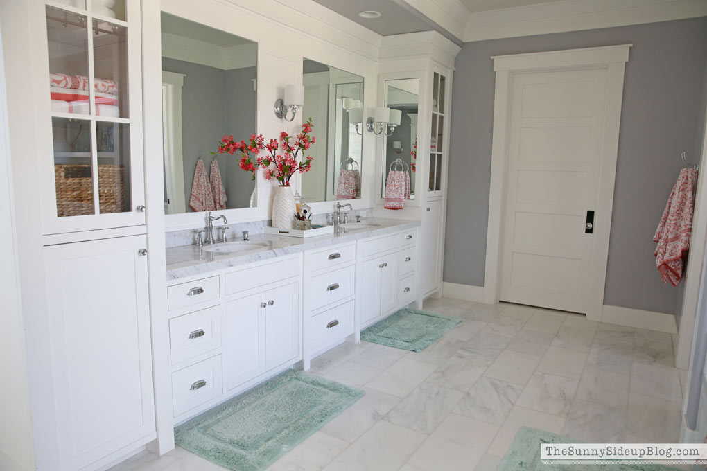 Unique Today I um finally sharing my master bathroom with you all What us the occasion Our white master bathroom is ready for Spring of course
