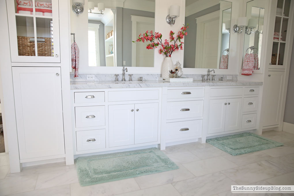 White master bathroom ready for spring the sunny side for Spring bathrooms