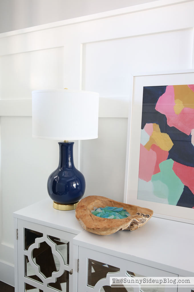 I Knew Wanted To Bring Out Navy Match My Formal Living Room Drapes So Also Went On A Hunt For The Perfect Lamp Found Several Fun Options And