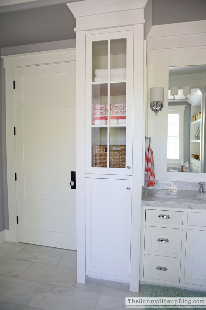 with the built in cabinets on the left my side of the bathroom